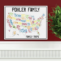 Personalized Family Signs - Travel Map - Canvas Sign - Spectrum