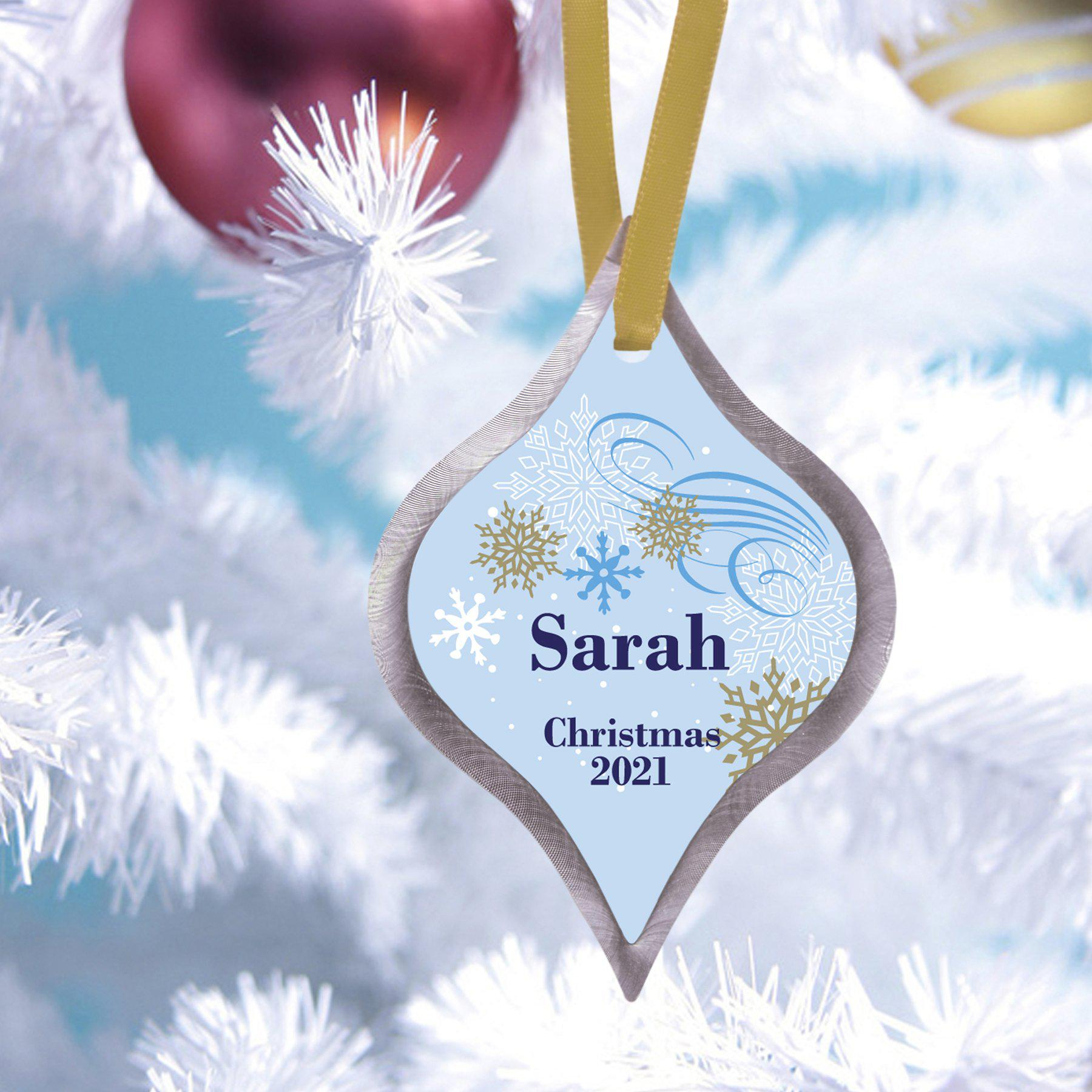 Personalized Elegant Christmas Ornament - Dazzling Snowfall