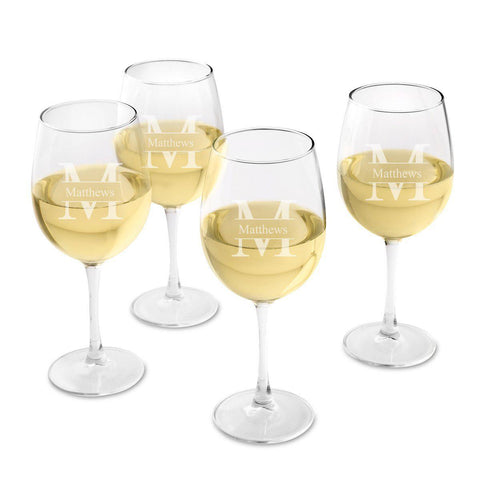 Personalized Wine Glasses - Set of 4 - White Wine - Wedding Gifts at AGiftPersonalized