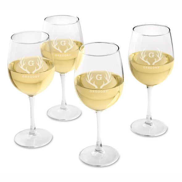 Personalized Set of 4  Wine Glasses - White Wine - Antlers - JDS