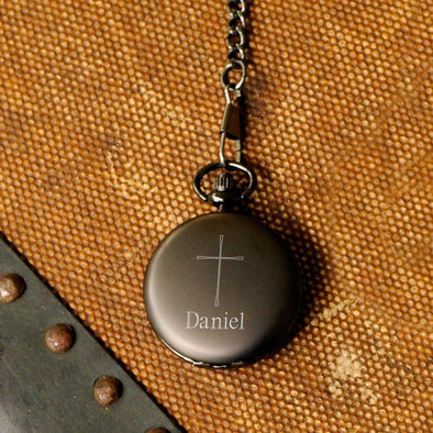 Engraved Cross Pocket Watch - Inspirational - Gunmetal - JDS