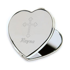 Personalized Compact Mirror w/Engraved Cross