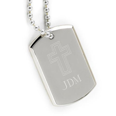 Personalized Small Inspirational Dog Tag w/Engraved Cross -