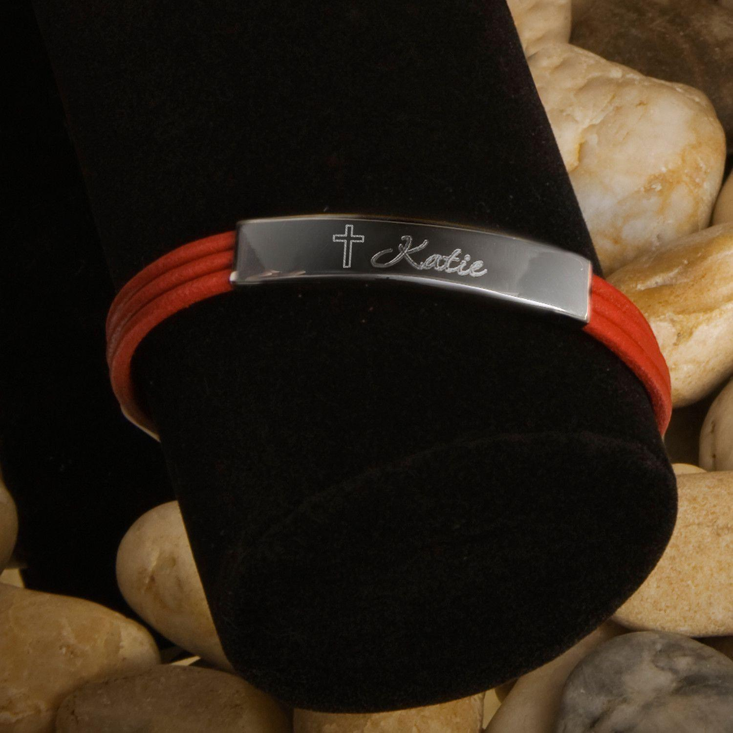 Inspirational Leather Bracelets with Engraved Cross