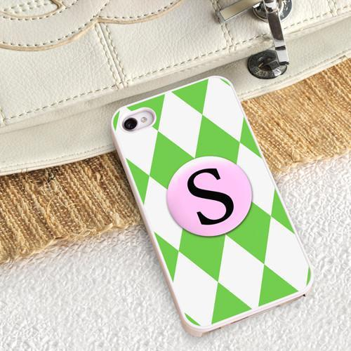 Personalized White Trimmed Phone Cover - 1 initial - Diamonds - JDS