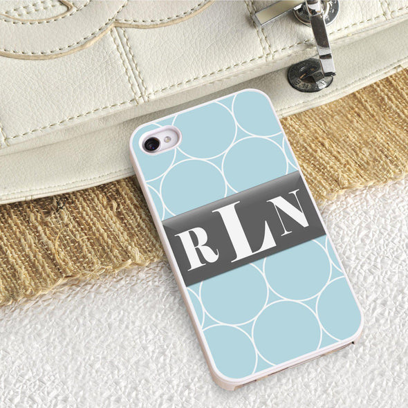 Personalized White Trimmed Phone Cover - 3 letter monogram - Ring - JDS