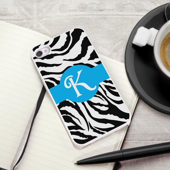 Personalized White Trimmed Phone Cover - 1 initial - Zebra - JDS