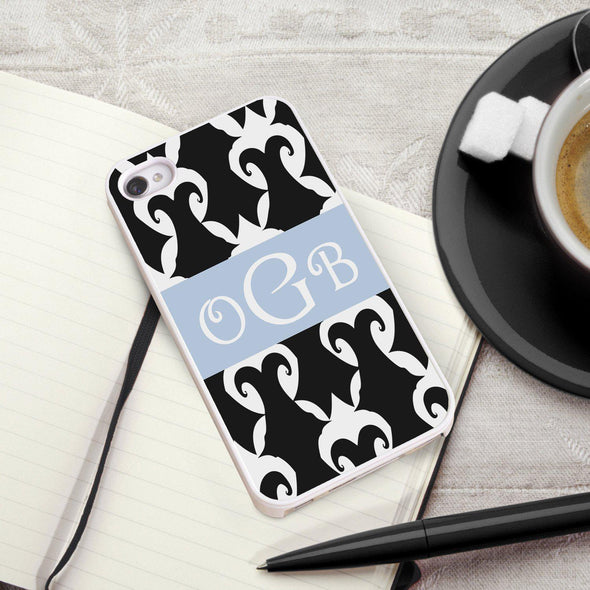 Personalized White Trimmed Phone Cover - 3 letter monogram - Damask - JDS