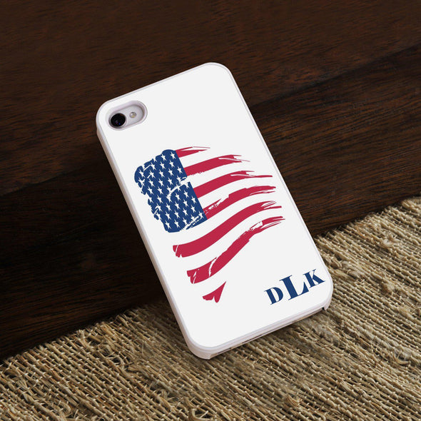 Personalized White Trimmed Phone Cover - 3 letter monogram - American - JDS