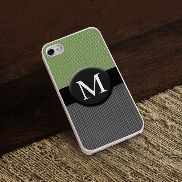 Personalized White Trimmed Phone Cover - 1 initial - Tweed - JDS