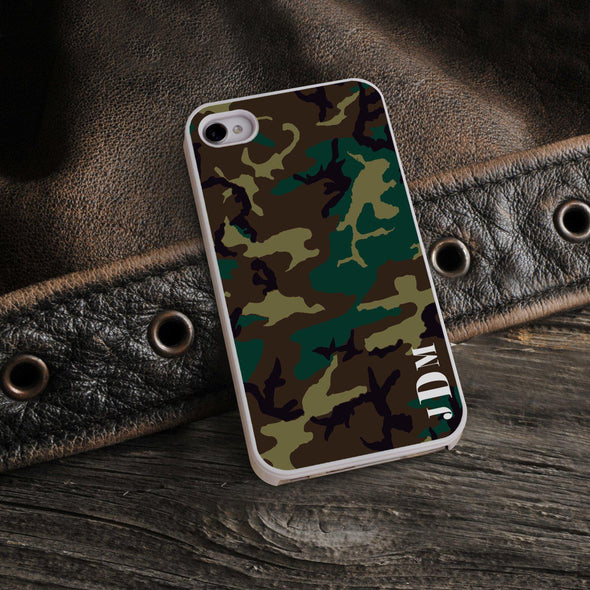 Personalized White Trimmed Phone Cover - 3 letter monogram - Camo - JDS