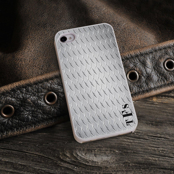 Personalized White Trimmed Phone Cover - 3 letter monogram - Steel - JDS