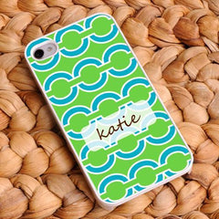 Personalized White Trimmed iPhone Cover - Name Monogram - Green - Gifts for Her - AGiftPersonalized