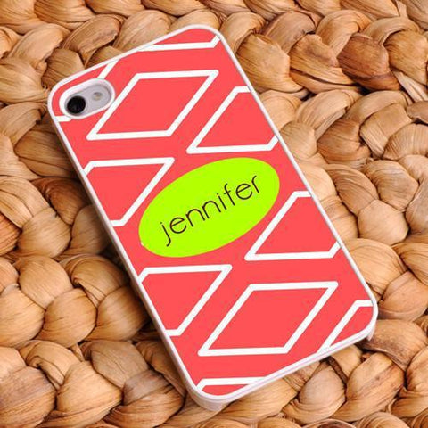 Personalized White Trimmed iPhone Cover - Name Monogram - Coral - Gifts for Her - AGiftPersonalized
