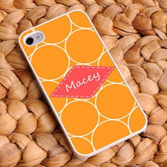 Personalized White Trimmed iPhone Cover - Name Monogram - Orange - Gifts for Her - AGiftPersonalized