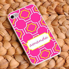 Personalized White Trimmed iPhone Cover - Name Monogram - Pink - Gifts for Her - AGiftPersonalized