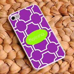 Personalized White Trimmed iPhone Cover - Name Monogram - Purple - Gifts for Her - AGiftPersonalized