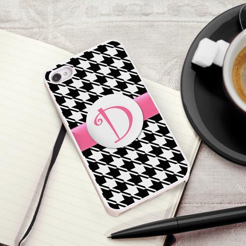 Personalized White Trimmed Phone Cover - 1 initial - Houndstooth - JDS