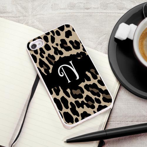Personalized White Trimmed Phone Cover - 1 initial - Leopard - JDS