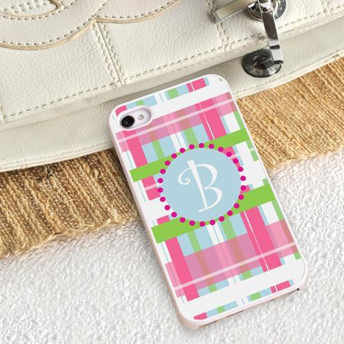 Personalized White Trimmed Phone Cover - 1 initial - Plaid - JDS