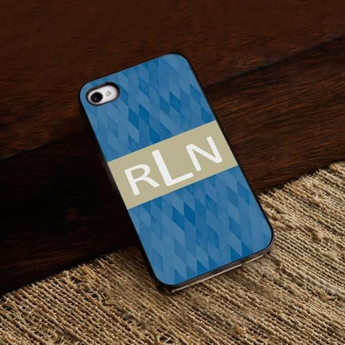 Personalized Black Trimmed Phone Cover - 3 Initials