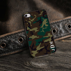 Personalized Black Trimmed iPhone Cover - 3 Initials - Camo - Gifts for Him - AGiftPersonalized