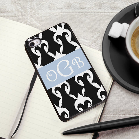 Personalized Black Trimmed iPhone Cover - 3 Initials - Damask - Gifts for Him - AGiftPersonalized
