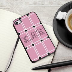 Personalized Black Trimmed iPhone Cover - 3 Initials - Pink - Gifts for Him - AGiftPersonalized