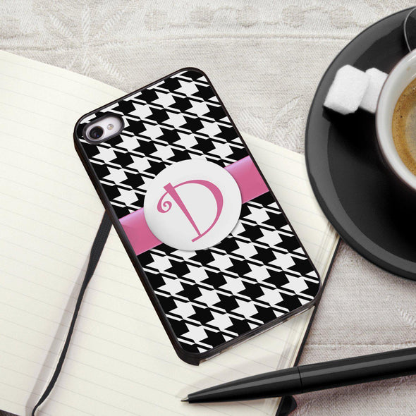 Personalized Black Trimmed Phone Cover - 1 initial - Houndstooth - JDS