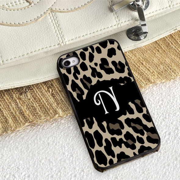 Personalized Black Trimmed Phone Cover - 1 initial - Leopard - JDS