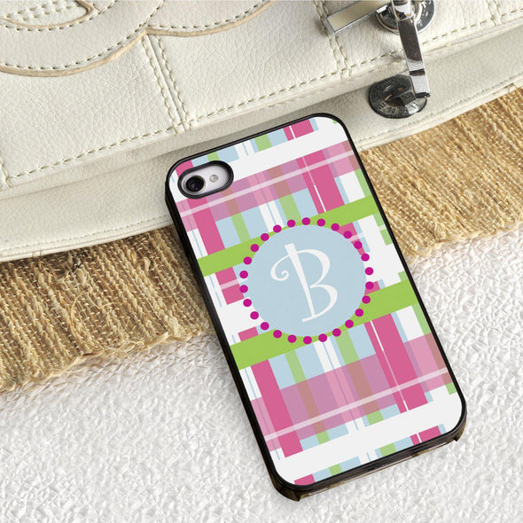 Personalized Black Trimmed Phone Cover - 1 initial - Plaid - JDS