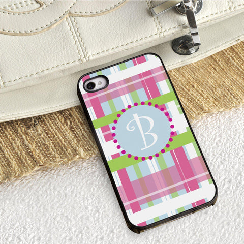 Personalized Black Trimmed iPhone Cover - 1 initial - Plaid - Gifts for Her - AGiftPersonalized