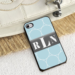 Personalized Black Trimmed iPhone Cover - 3 Initials - Ring - Gifts for Him - AGiftPersonalized