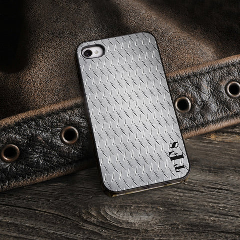 Personalized Black Trimmed iPhone Cover - 3 Initials - Steel - Gifts for Him - AGiftPersonalized