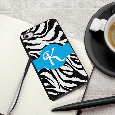 Personalized Black Trimmed iPhone Cover - 1 initial - Zebra - Gifts for Her - AGiftPersonalized