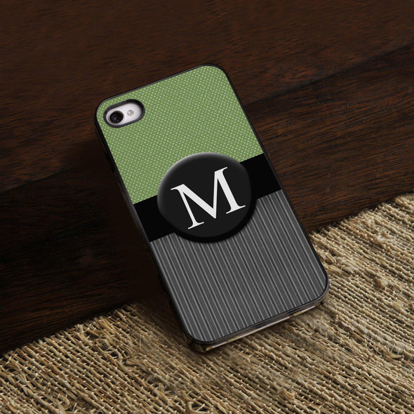 Personalized Black Trimmed Phone Cover - 1 initial - Tweed - JDS