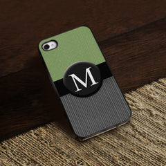 Personalized Black Trimmed iPhone Cover - 1 initial - Tweed - Gifts for Her - AGiftPersonalized