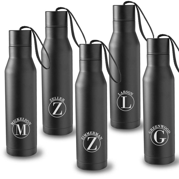 Personalized Set of 5 Black Double Insulated Stainless Steel Water Bottles - Circle - JDS
