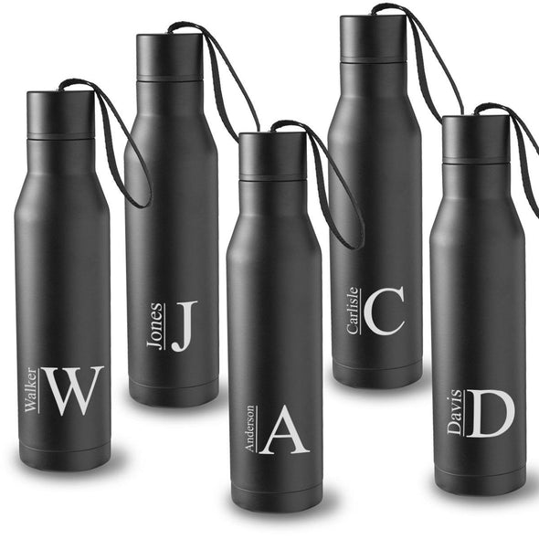 Personalized Set of 5 Black Double Insulated Stainless Steel Water Bottles - Modern - JDS