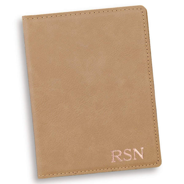 Personalized Light Brown Passport Holder - RoseGold - JDS