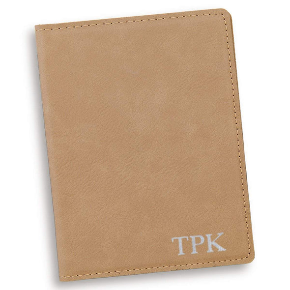 Personalized Light Brown Passport Holder - Silver - JDS