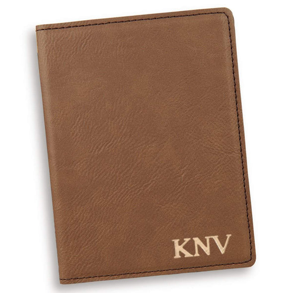 Personalized Dark Brown Passport Holder - Gold - JDS