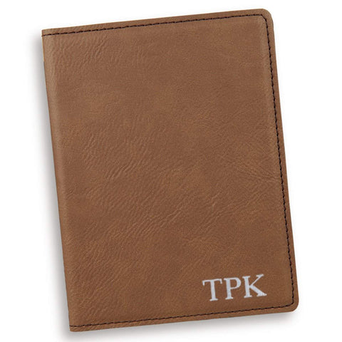 Personalized Dark Brown Passport Holder - Silver