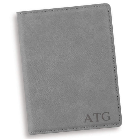 Personalized Gray Passport Holder - Blind - Travel Gear - AGiftPersonalized