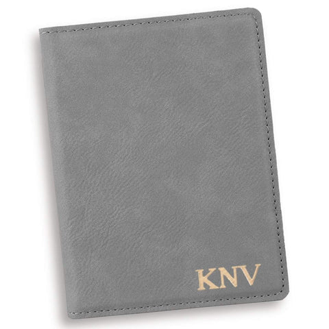Personalized Gray Passport Holder - Gold - Travel Gear - AGiftPersonalized