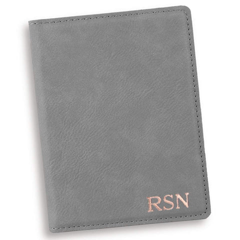 Personalized Gray Passport Holder - RoseGold - Travel Gear - AGiftPersonalized