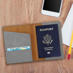Personalized Gray Passport Holder -  - Travel Gear - AGiftPersonalized