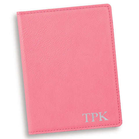 Personalized Pink Passport Holder - Silver