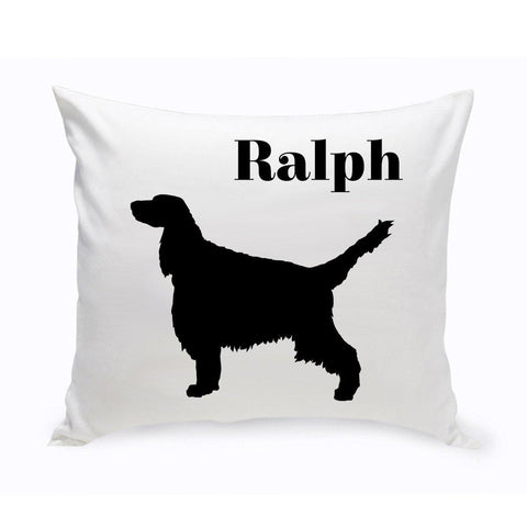 Monogrammed Dog Throw Pillow -  Classic Silhouette - EnglishSpringerSpaniel - Pet Gifts - AGiftPersonalized