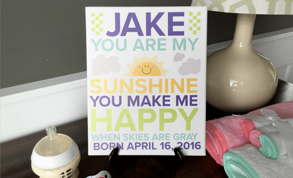 Personalized Canvas Wall Décor - Newborn Design - Baby Boy -  - Qualtry